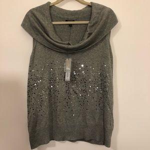 Apt 9 gray sleeveless sweater cowl neck sequins